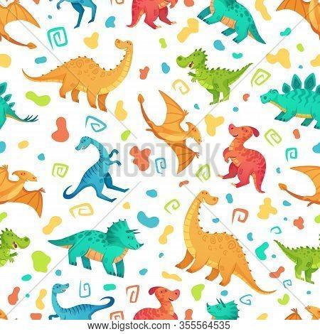 Cartoon Dino Seamless Pattern. Cute Triceratops, Brontosaurus And Tirex. Color Dinosaurs Vector Illu