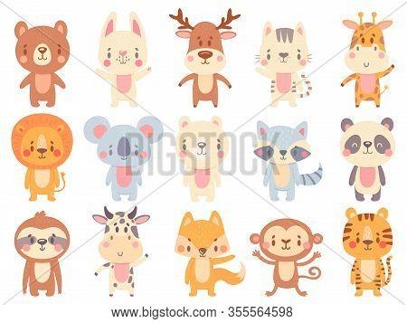 Cute Cartoon Animals. Waving Giraffe, Funny Farm Cow And Happy Bear Mascot. Jungle Zoo Animal And Sm