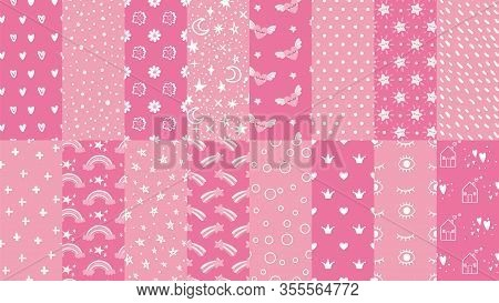 Cute Pink Seamless Patterns. Hand Drawn Hearts, Stars Pattern For Little Baby Girl And Dots Texture