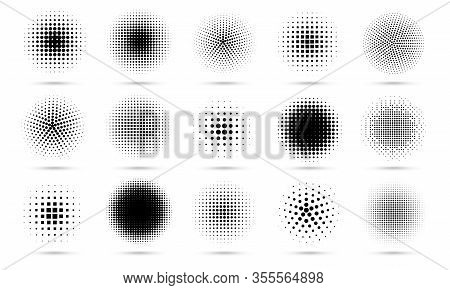 Circle Halftone. Abstract Dotted Circles, Round Halftones Geometric Dots Gradient And Pop Art Textur