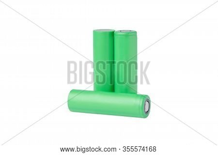 18650 Rechargeable Lithium-ion Batteries. Isolated On A White Background. Batteries For Flashlights,
