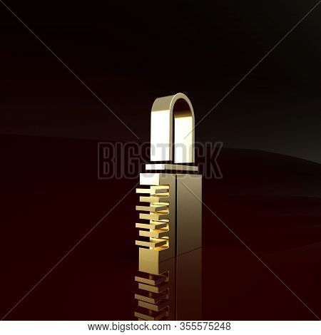 Gold Safe Combination Lock Icon Isolated On Brown Background. Combination Padlock. Security, Safety,