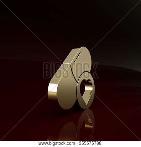 Gold Pills For Potency, Aphrodisiac Icon Isolated On Brown Background. Sex Pills For Men And Women.