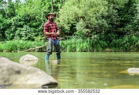 Hobby Sport Activity. Fish Farming Pisciculture Raising Fish Commercially. River Lake Lagoon Pond. T