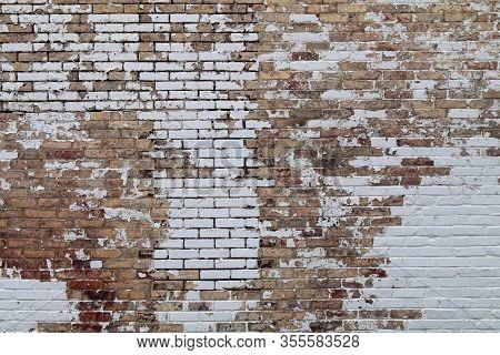 Peeling Paint Vintage Old Brick Garden Wall