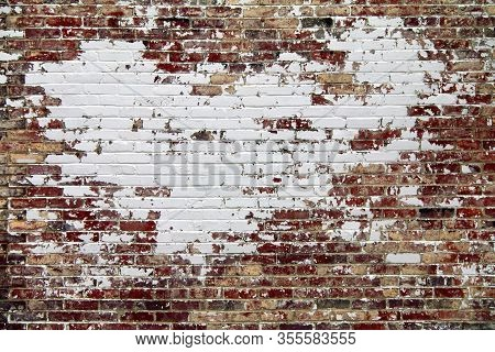 Retro Outside Garden Brick Wall Painted White Cracked