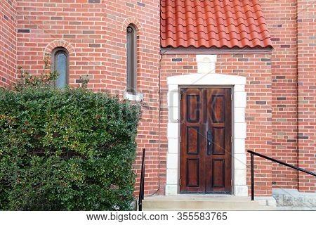 Red Brick Manor Entrance Vintage Wood Door