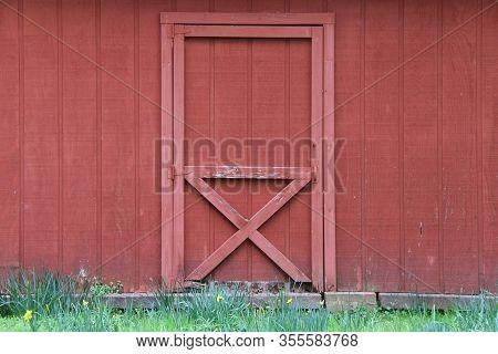 Red Farm Barn Double Door Grass Path