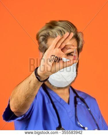 Stop Virus Extension. Doctor Respirator Mask. Prevent Infection. Coronavirus Epidemic From China. Sa