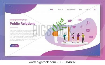 Public Relations Or Pr For Website Template Or Landing Homepage Design Campaign Vector
