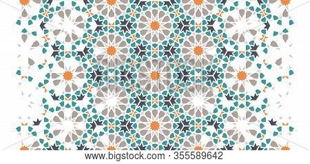 Moroccan Tile Repeating Vector Pattern, Border. Geometric Halftone Pattern With Colorful Morocco Ara