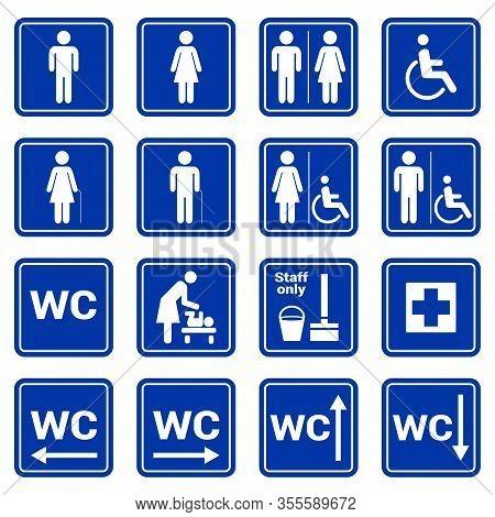 Set Of Vector White Toilet Symbols Icons On A Blue Background. Wc Pictogram, Man, Woman, Handicap, S