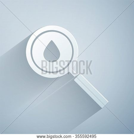 Paper Cut Oil Drop Icon Isolated On Grey Background. Geological Exploration, Geology Research. Paper