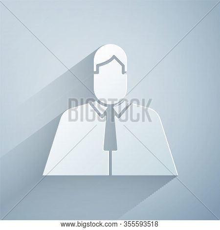 Paper Cut Lawyer, Attorney, Jurist Icon Isolated On Grey Background. Jurisprudence, Law Or Court Ico