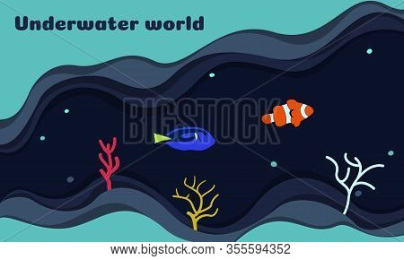Vector Illustration On The Theme Of The Underwater World. On A Dark Blue Background, Clown Fish And