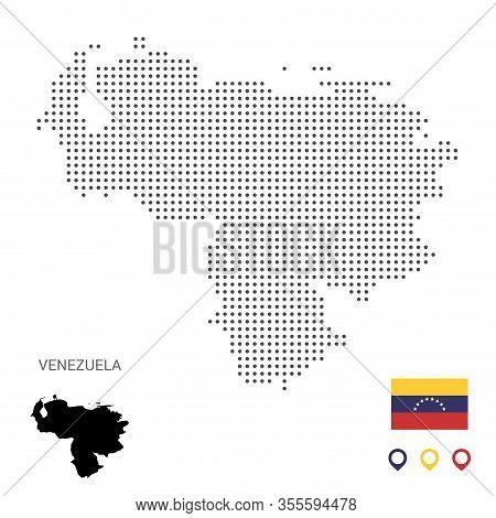 Dotted Vector Map Of Venezuela. Round Gray Spots. Venezuela Map With National Flag And Map Icons. Bl