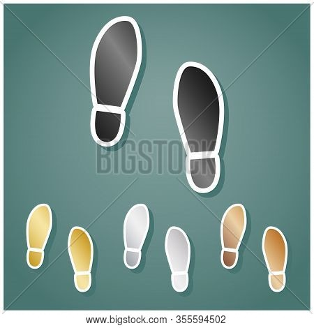 Imprint Soles Shoes Sign. Set Of Metallic Icons With Gray, Gold, Silver And Bronze Gradient With Whi