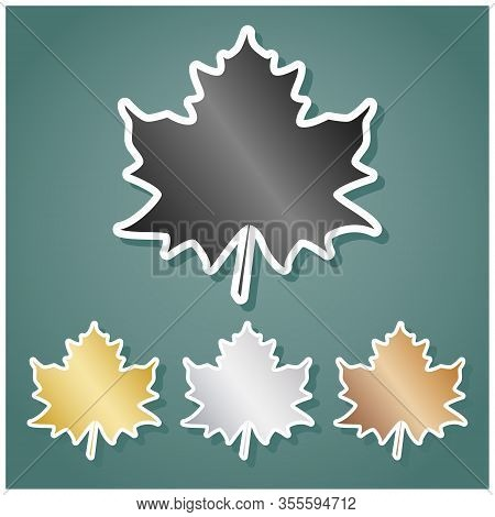Maple Leaf Sign. Set Of Metallic Icons With Gray, Gold, Silver And Bronze Gradient With White Contou