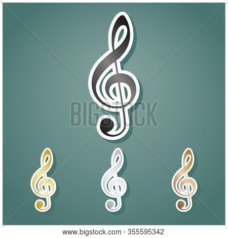Music Violin Clef Sign. G-clef. Treble Clef. Set Of Metallic Icons With Gray, Gold, Silver And Bronz