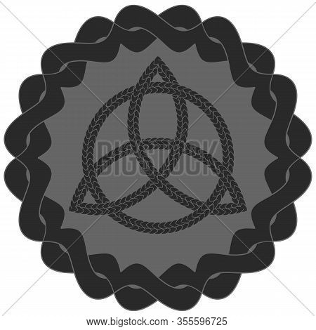Entwined Grey Ornamented Frame With Black Celtic Pagan Symbol Triquetra