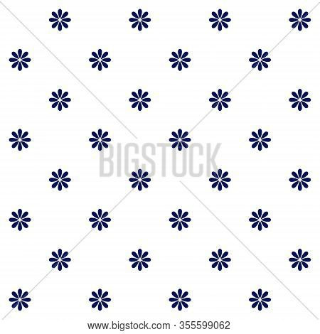 Floral Polka Dot Seamless Pattern. Dark Blue Simple Vector Flowers With Eight Petals On White Backgr