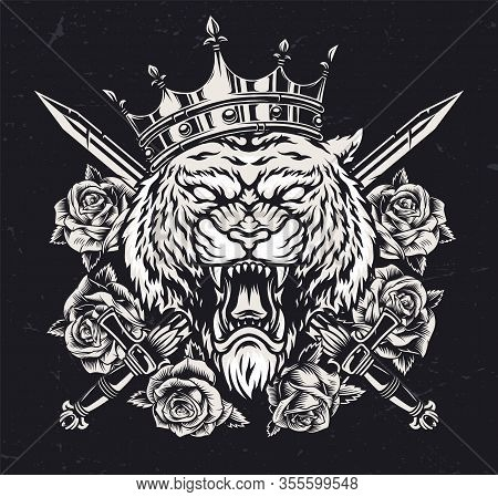 Ferocious Tiger Head In Royal Crown With Crossed Swords And Roses In Vintage Monochrome Style Isolat