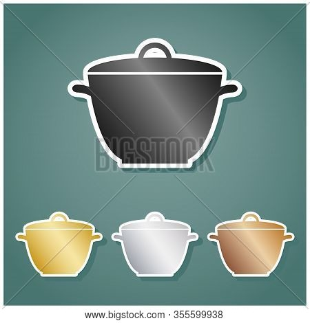 Saucepan Simple Sign. Set Of Metallic Icons With Gray, Gold, Silver And Bronze Gradient With White C