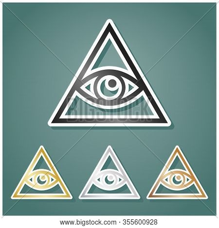 All Seeing Eye Pyramid Symbol. Freemason And Spiritual. Set Of Metallic Icons With Gray, Gold, Silve