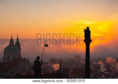 The Church Of St.nicholas In The Mist. Prague, Czech Republic.this Is The Most Famous Baroque Church