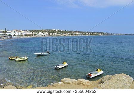 Hersonissos, Crete, Greece - June 11, 2019 : Jet Skis Foe Hire On Hersonissos Beach In Crete The Lar
