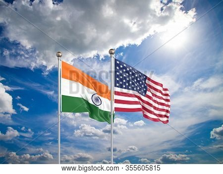United States Of America Vs India. Thick Colored Silky Flags Of America And India. 3d Illustration O