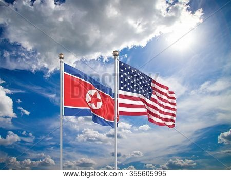 United States Of America Vs North Korea. Thick Colored Silky Flags Of America And North Korea. 3d Il