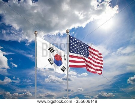 United States Of America Vs South Korea. Thick Colored Silky Flags Of America And South Korea. 3d Il