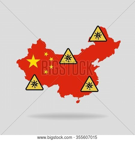 Map With The Flag Of China And Pandemic Stop Novel Coronavirus Outbreak Covid-19 2019-ncov Sign.