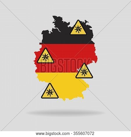 Map With The Flag Of Germany And Pandemic Stop Novel Coronavirus Outbreak Covid-19 2019-ncov Sign.