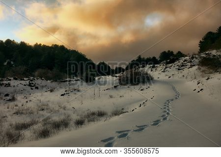 human tracks on the deep snow of Etna Park at evening, Sicily