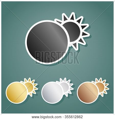 Solar Eclipse Sign. Set Of Metallic Icons With Gray, Gold, Silver And Bronze Gradient With White Con