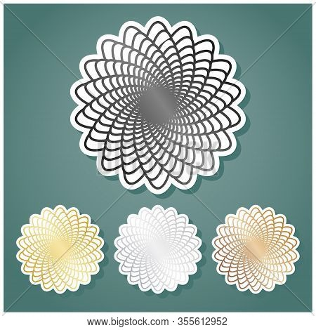 Linear Mandala Sign. Set Of Metallic Icons With Gray, Gold, Silver And Bronze Gradient With White Co