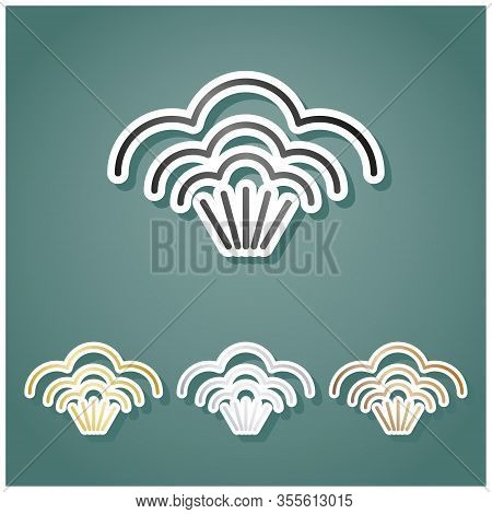 Steam Sign. Set Of Metallic Icons With Gray, Gold, Silver And Bronze Gradient With White Contour And