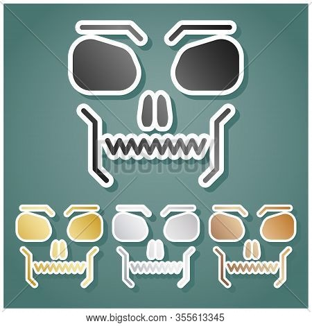 Skull Sign. Set Of Metallic Icons With Gray, Gold, Silver And Bronze Gradient With White Contour And