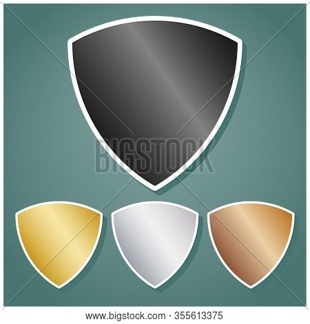 Shield Sign. Set Of Metallic Icons With Gray, Gold, Silver And Bronze Gradient With White Contour An