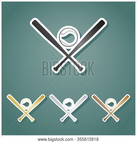 Baseball Sign. Set Of Metallic Icons With Gray, Gold, Silver And Bronze Gradient With White Contour