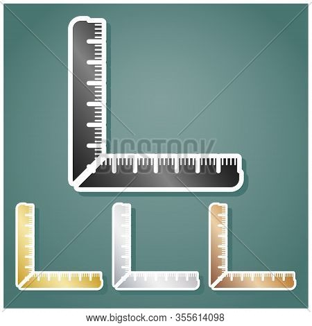 Ruler Sign. Set Of Metallic Icons With Gray, Gold, Silver And Bronze Gradient With White Contour And