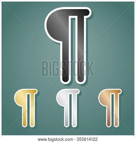 Paragraph Sign. Set Of Metallic Icons With Gray, Gold, Silver And Bronze Gradient With White Contour