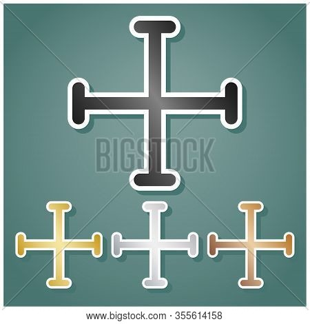 Jerusalem Cross Sign. Set Of Metallic Icons With Gray, Gold, Silver And Bronze Gradient With White C
