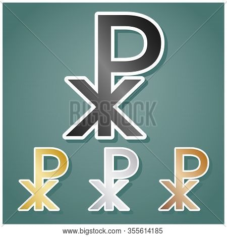 Constantine Cross Sign. Set Of Metallic Icons With Gray, Gold, Silver And Bronze Gradient With White