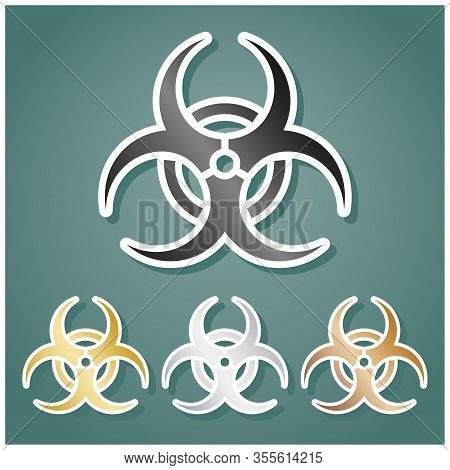 Danger Chemicals Sign. Set Of Metallic Icons With Gray, Gold, Silver And Bronze Gradient With White