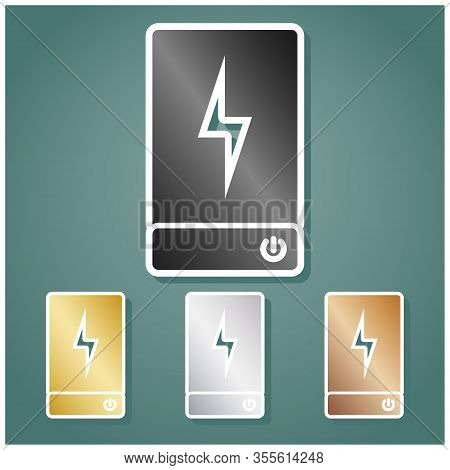 Power Bank Battery Sign. Set Of Metallic Icons With Gray, Gold, Silver And Bronze Gradient With Whit