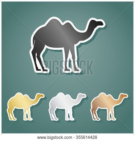 Camel Silhouette Sign. Set Of Metallic Icons With Gray, Gold, Silver And Bronze Gradient With White