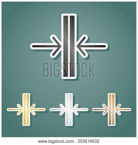Sliding Door, Automatic Door Sign. Set Of Metallic Icons With Gray, Gold, Silver And Bronze Gradient